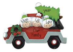 SINGLE PARENT WITH 2 KIDS riding in red car ORNAMENT / MY PERSONALIZED ORNAMENTS