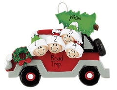 family of 4 red car with christmas tree on roof ORNAMENT / MY PERSONALIZED ORNAMENTS