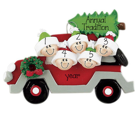 Family of 5 Red Car w/ Christmas Tree- Ornament