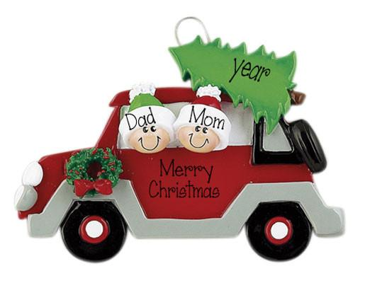 COUPLE IN RED CAR w/ TREE - Ornament
