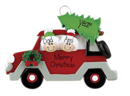 Red Car Single Parent with 1 Child ~Personalized Christmas Ornament