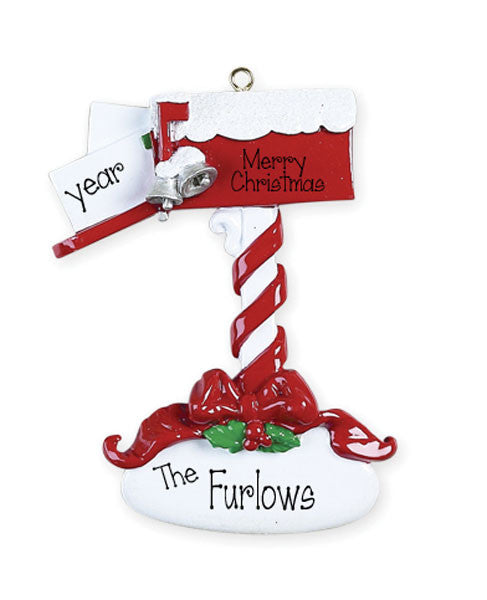 RED MAILBOX WITH SNOW AND MAIL ORNAMENT / MY PERSONALIZED ORNAMENTS