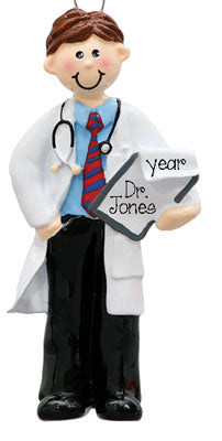 BRUNETTE MALE DOCTOR WITH WHITE COAT ORNAMENT / MY PERSONALIZED ORNAMENTS