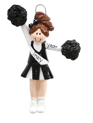 CHEERLEADER w/ BLACK POM POMS Ornament