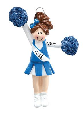 CHEERLEADER WITH BLUE POM POMS/PERSONALIZED CHRISTMAS ORNAMENT