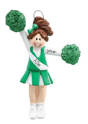 CHEERLEADER w/ GREEN POM POMS Ornament