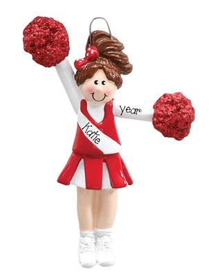 CHEERLEADER WITH RED POM POMS/PERSONALIZED CHRISTMAS ORNAMENT