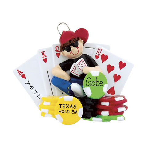 TEXAS HOLD EM CARDS GAME ORNAMENT / MY PERSONALIZED ORNAMENTS