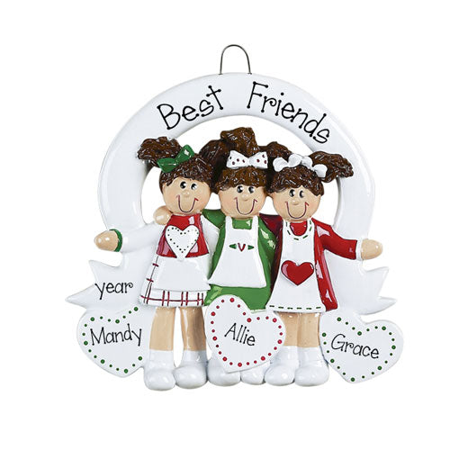 FRIENDS for 3 w/ hair bows Ornament