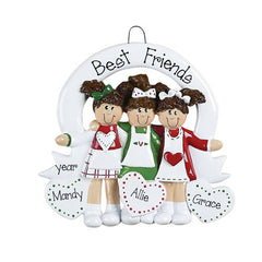 3 FRIENDS with HEARTS ORNAMENT, personalized christmas ornament