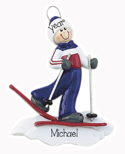 MALE SNOW SKIER - Personalized Ornament