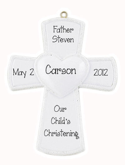 Religious white Cross, christening, baptizing, memorial, my personalized Ornaments