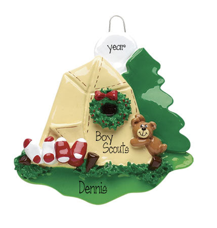 BOY SCOUTS CAMPING TENT, MY PERSONALIZED ORNAMENTS