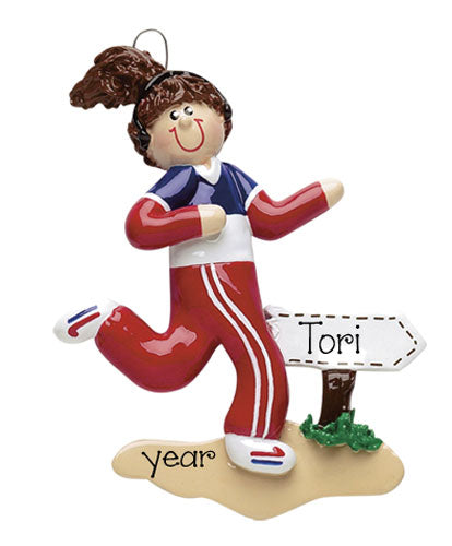 JOGGING/RUNNING BRUNETTE FEMALE / MY PERSONALIZED ORNAMENTS