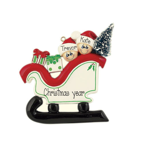 Family of 2 Sleigh Ride - Ornament