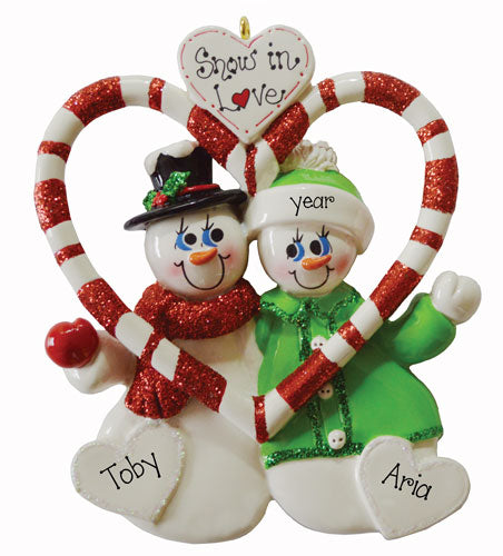 SNOWMAN COUPLE IN A CANDY CANE HEART, SNOW IN LOVE, MY PERSONALIZED ORNAMENTS