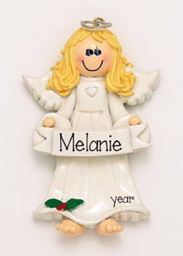 Blonde ANGEL WITH HAL0 ORNAMENT, MY PERSONALIZED ORNAMENTS, CHRISTMAS ORNAMENTS