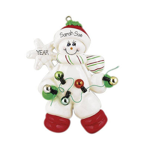 SNOWMAN w/ CHRISTMAS LIGHTS - Personalized Ornament