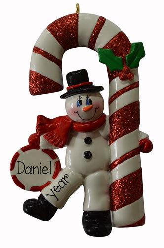 SNOWMAN w/ RED GLITTER CANDY CANE ORNAMENT