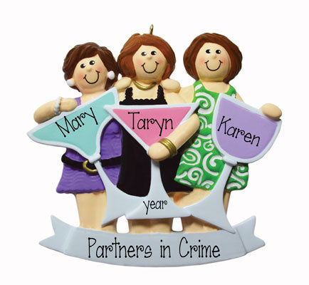 Three Friends and Girls Night out~Personalized Christmas Ornament
