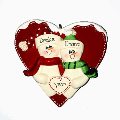 SNOWMAN COUPLE IN A RED HEART ORNAMENT, PERSONALIZED ORNAMENTS