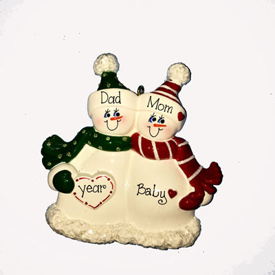EXPECTING SNOWMAN COUPLE Personalized Ornament