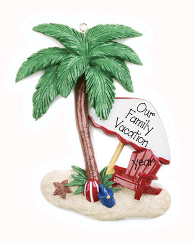Family Vacation Palm Tree-Personalized Ornament