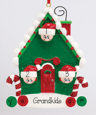 CANDY CANE HOUSE W/ 3 GRANDKIDS Ornament