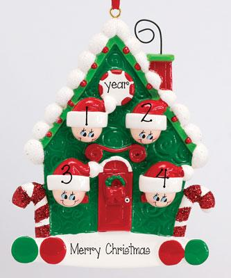 CANDY CANE HOUSE FAMILY OF 4 ORNAMENT, SINGLE PARENT personalized christmas ornament