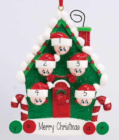 Family of 5~Candy Cane House~Personalized Christmas Ornament