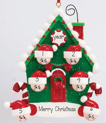 CANDY CANE HOUSE FAMILY OF 6, 6 GRANDKIDS,  MY PERSONALIZED ORNAMENTS