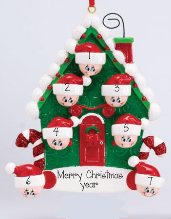 Family of 7~Candy Cane House~Personalized Christmas Ornament
