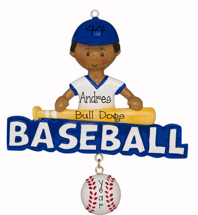 Ethnic/African American Male Baseball Player with Blue Uniform Personalized Ornament