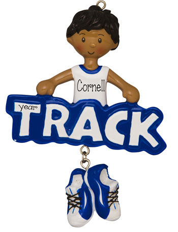 Ethnic/African American Male Track Star in Blue- Personalized Ornament