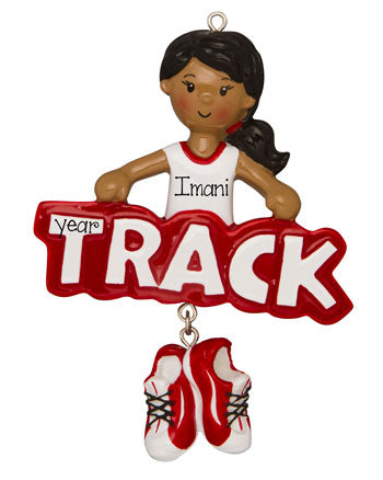 Ethnic/African American girl Track Star in Red-Personalized Ornament