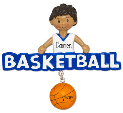 Ethnic/African American Male Basketball Player in Blue- Personalized Ornament
