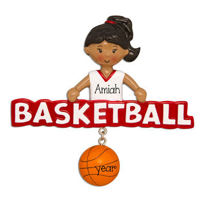 Ethnic/African American female Basketball Player in Red-Personalized Ornament