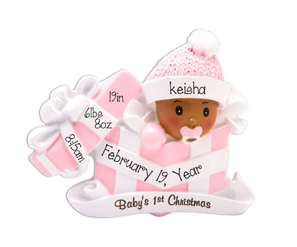 ETHNIC BABY GIRL'S 1ST CHRISTMAS ORNAMENT
