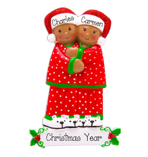 ETHNIC COUPLE IN PAJAMAS - Ornament