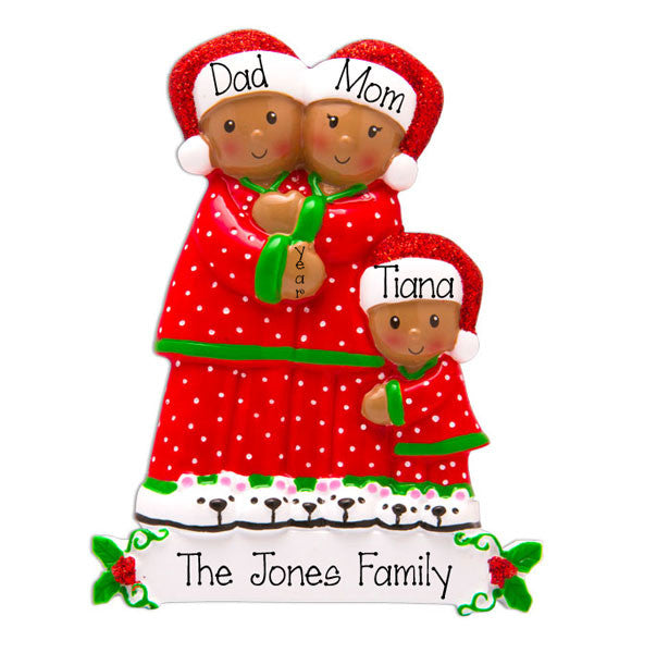 Ethnic  PAJAMA Family of 3 - Personalized Ornament