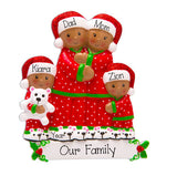 African american/ Ethnic family of 4 in pajamas / my personalized ornaments