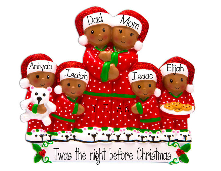 Ethnic Family of 6 Pajama Party~Personalized Christmas Ornament