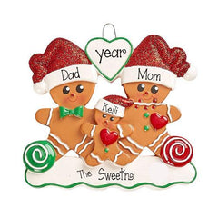 GINGERBREAD~Family of 3~Personalized Christmas Ornament