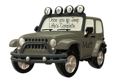 GRAY 4X4 JEEP Personalized Ornament