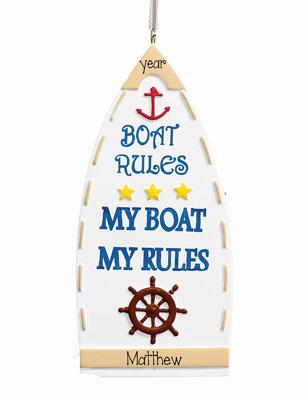 MY BOAT MY RULES BOATING ORNAMENT, MY PERSONALIZED ORNAMENTS