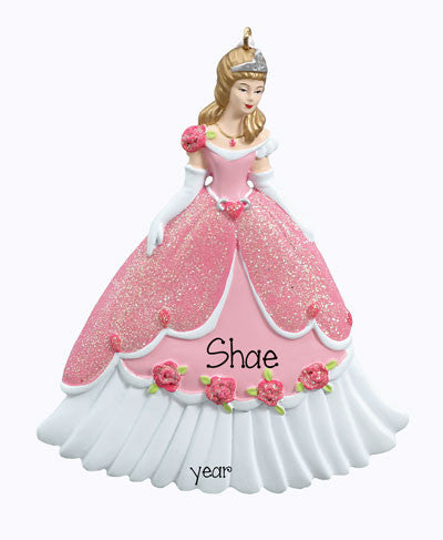 Personalized PRINCESS w/ GLITTERED DRESS Ornament
