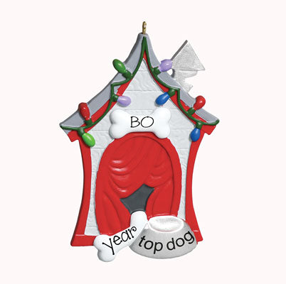 "Dog House~ Personalized Christmas ORNAMENT ""TOP DOG"""