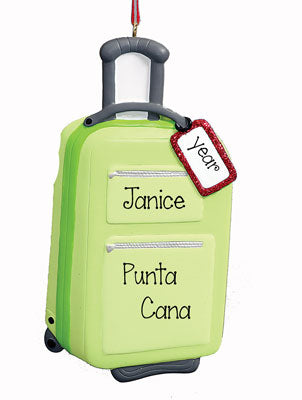 Green SUITCASE~Personalized Christmas Ornament