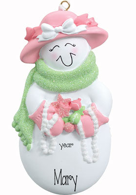 SNOWMAN LADY DRESSED IN PINK, GRANDMA, MOM Ornament - My Personalized Ornaments