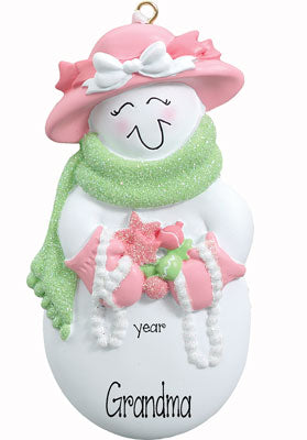 SNOWLADY DRESSED IN PINK WITH PEARLS, GRANDMA / MY PERSONALIZED ORNAMENT